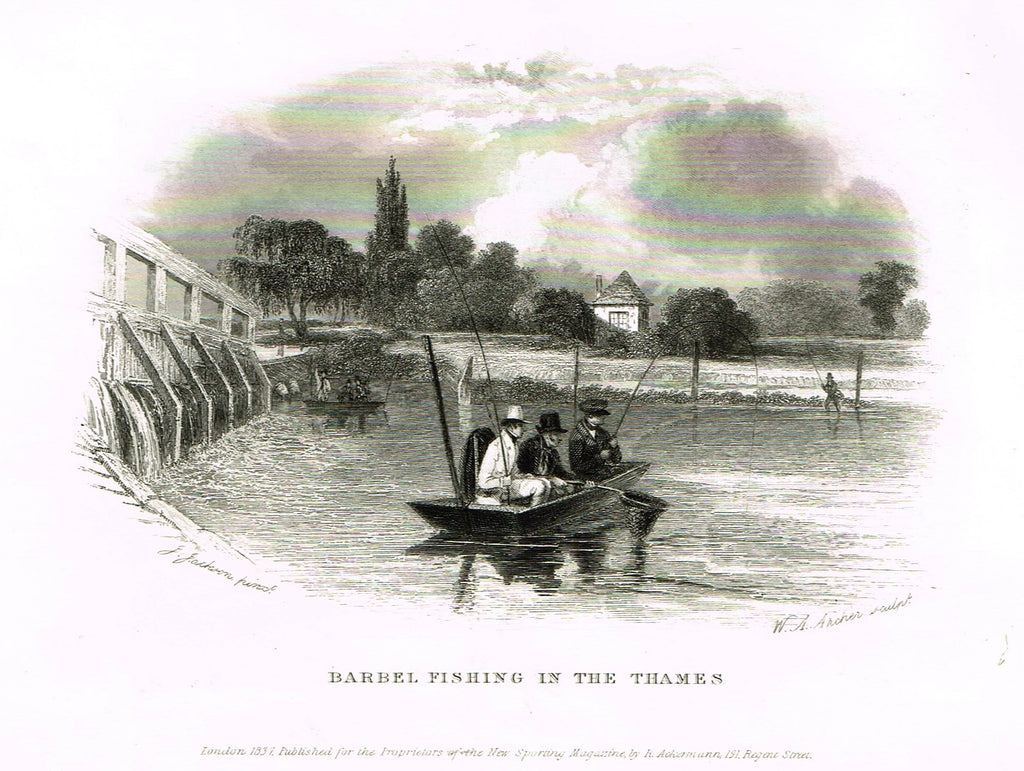 "Ackermann's Sporting Magazine - FISH & FISHING - ""BARREL FISHING IN THE THAMES"" - Steel Engraving - c1838 - Sandtique-Rare-Prints and Maps"