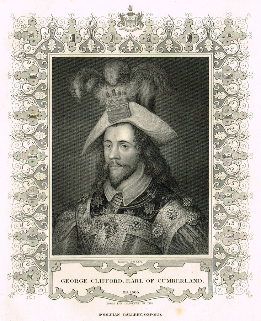 "Elaborate Scrollwork - ""GEORGE CLIFFORD, EARL OF CUMBERLAND"" - Steel Engraving - c1840"