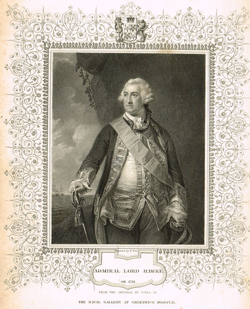 "Elaborate Scrollwork Bordered Portrait - ""ADMIRAL LORD HAWKE"" - Steel Engraving - c1840"