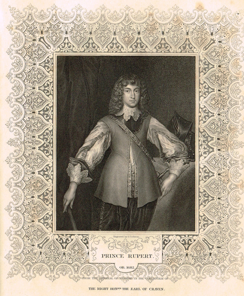 "Elaborate Scrollwork Bordered Portrait - ""PRINCE RUPERT"" - Steel Engraving - c1840"