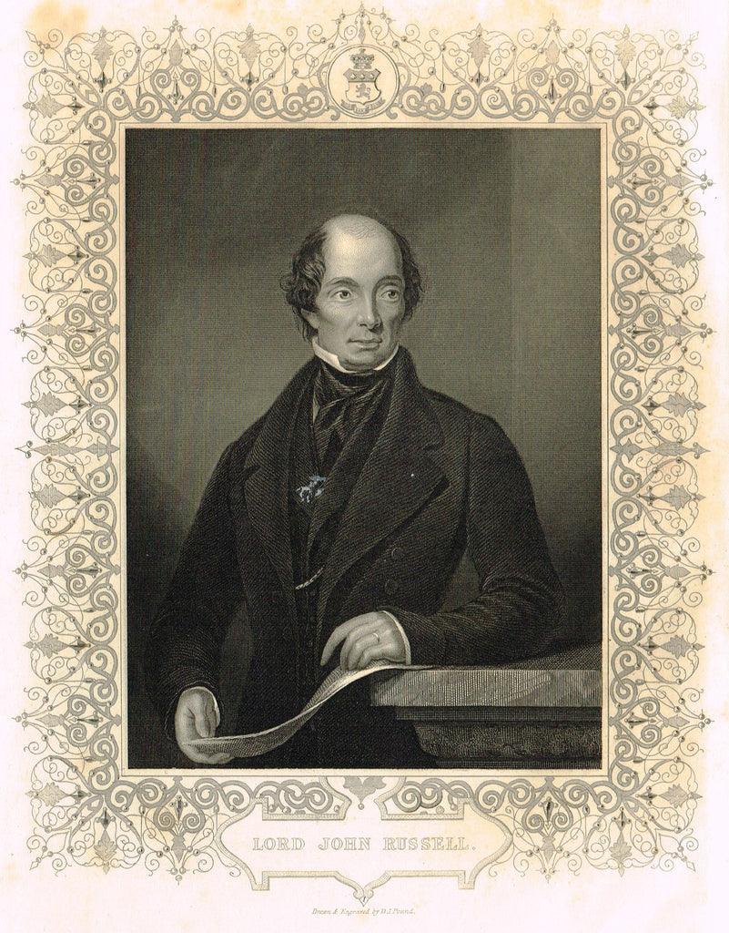 "Elaborate Scrollwork Bordered Portrait - ""LORD JOHN RUSSELL"" - Steel Engraving - c1840"