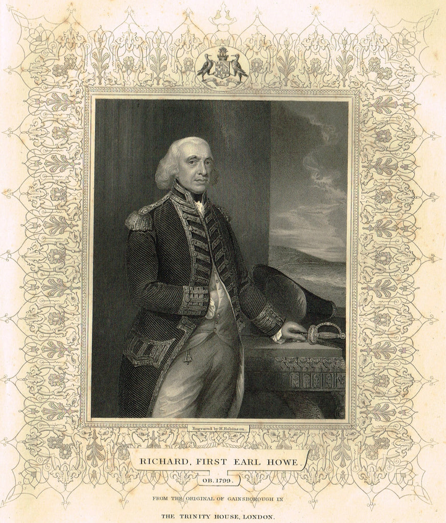 "Elaborate Scrollwork Bordered Portrait - ""RICHARD, FIRST EARL HOWE"" - Steel Engraving - c1840"