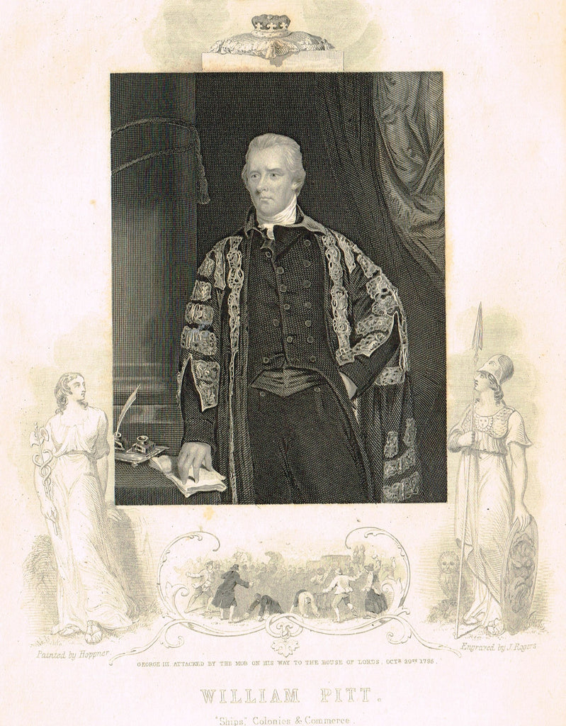 "Elaborate Scrollwork Bordered Portrait - ""WILLIAM PITT"" - Steel Engraving - c1840"