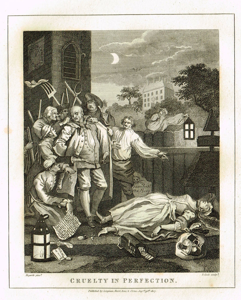 "Hogarth's Satire - ""CRUELTY IN PERFECTION"" - Copper Engraving - 1807"