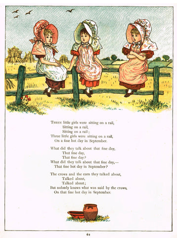"Kate Greenaway's  - ""THREE LITTLE GIRLS SITTING ON A RAIL"" - Chromolithograph - 1878"