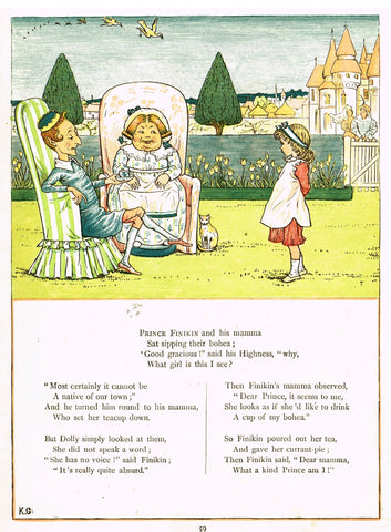 "Kate Greenaway's 'Under the Window' - ""PRINCE FINIKIN & HIS MOMMA"" - Chromolithograph - 1878"