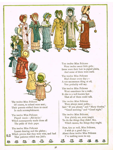 "Kate Greenaway's 'Under the Window' - ""THE TWELVE MISS PELICOES"" - Chromolithograph - 1878"