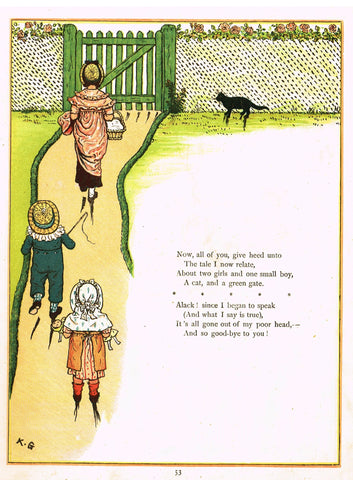 "Kate Greenaway's 'Under the Window' - ""RACING BLACK CAT TO GREEN GATE"" - Chromolithograph - 1878"