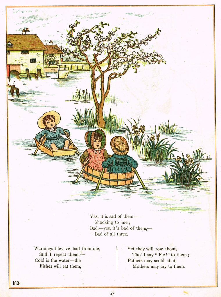 "Kate Greenaway's 'Under the Window' - ""THREE CHILDREN ROWING"" - Chromolithograph - 1878"
