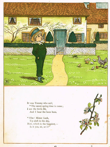 "Kate Greenaway's 'Under the Window' - ""TOMMY SAYS SPRING HAS COME"" - Chromolithograph - 1878"