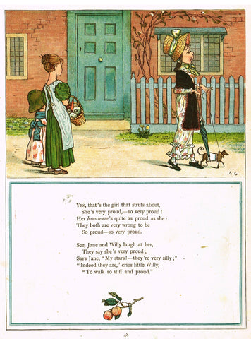 "Kate Greenaway's 'Under the Window' - ""GIRL THAT STRUTS AROUND""  - Chromolithograph - 1878"