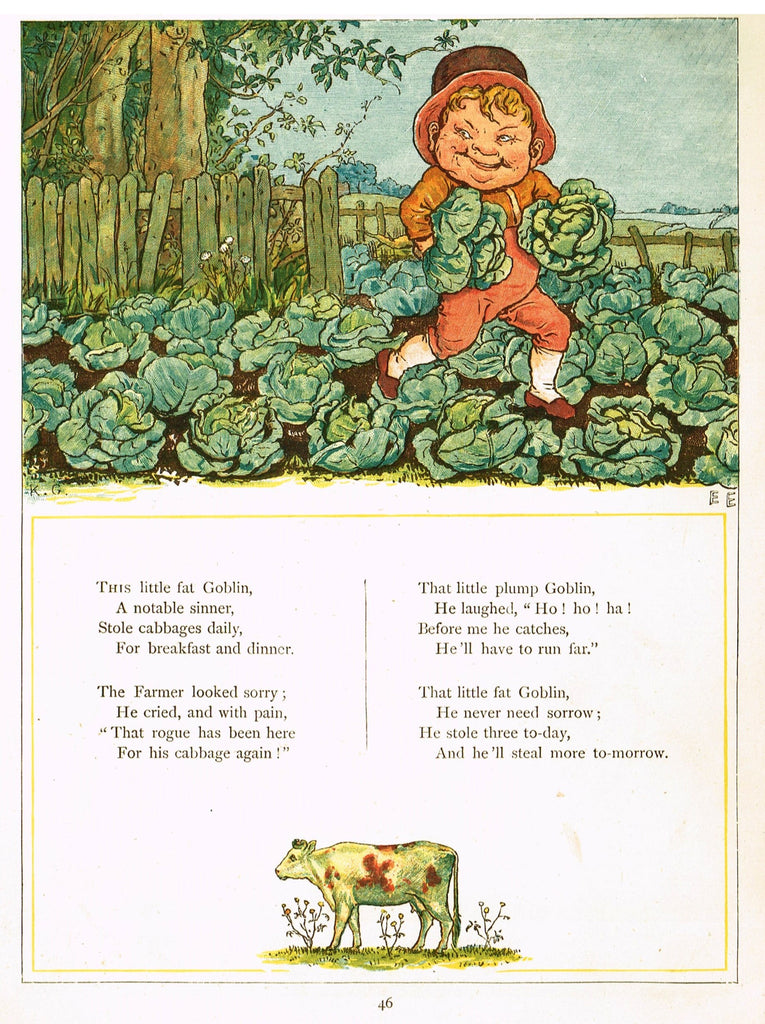 "Kate Greenaway's 'Under the Window' - ""THIS LITTLE FAT GOBLIN""  - Chromolithograph - 1878"