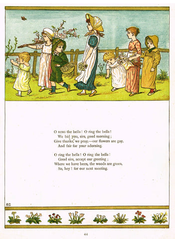 "Kate Greenaway's 'Under the Window' - ""O RING THE BELLS""  - Chromolithograph - 1878"