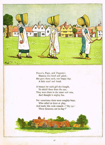 "Kate Greenaway's 'Under the Window' - ""POLLY, PEG AND POPPETY""  - Chromolithograph - 1878"