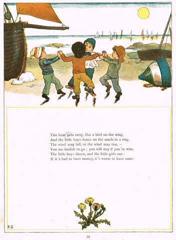 "Kate Greenaway's 'Under the Window' - ""THE BOAT SAILS AWAY""  - Chromolithograph - 1878"