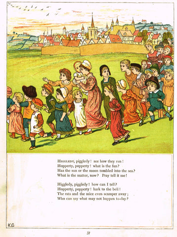 "Kate Greenaway's - ""HIGGLEDY PIGGLEDY, SEE HOW THEY RUN""  - Chromolithograph - 1878"