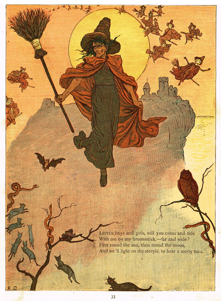 "Kate Greenaway's 'Under the Window' - ""COME RIDE WITH ME ON MY BROOMSTICK""  - Chromolithograph - 1878"