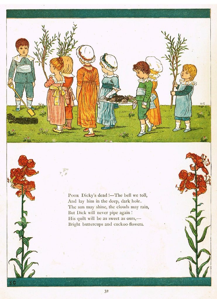 "Kate Greenaway's 'Under the Window' - ""POOR DICKEY'S DEAD""  - Chromolithograph - 1878"
