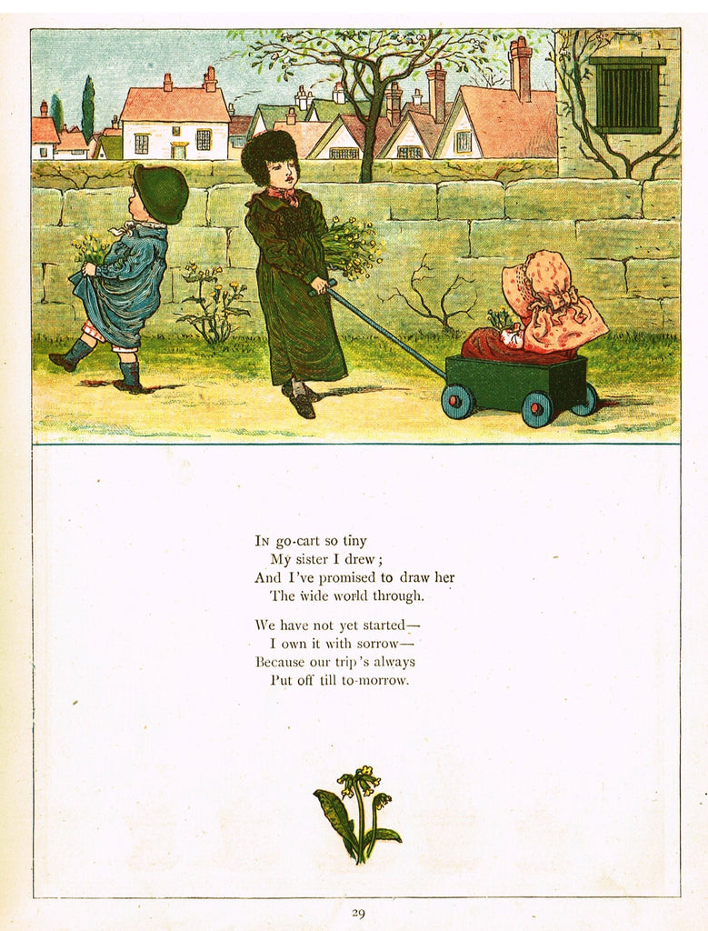 "Kate Greenaway's - ""IN GO-CART SO TINY, MY SISTER I DREW""  - Chromolithograph - 1878"