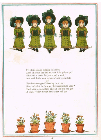 "Kate Greenaway's  - ""FIVE LITTLE SISTERS WALKING IN A ROW""  - Chromolithograph - 1878"