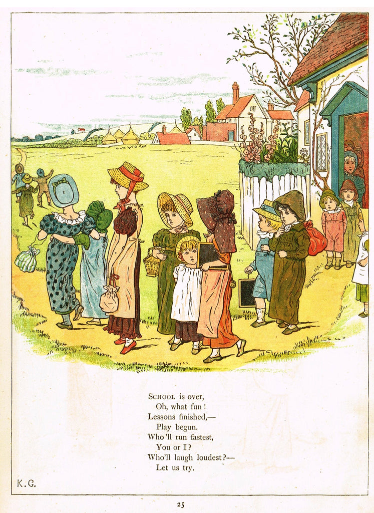 "Kate Greenaway's 'Under the Window' - ""SCHOOL IS OVER, OH WHAT FUN""  - Chromolithograph - 1878"