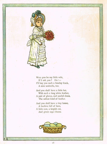 "Kate Greenaway's 'Under the Window' - ""WILL YOU BE MY LITTLE WIFE""  - Chromolithograph - 1878"