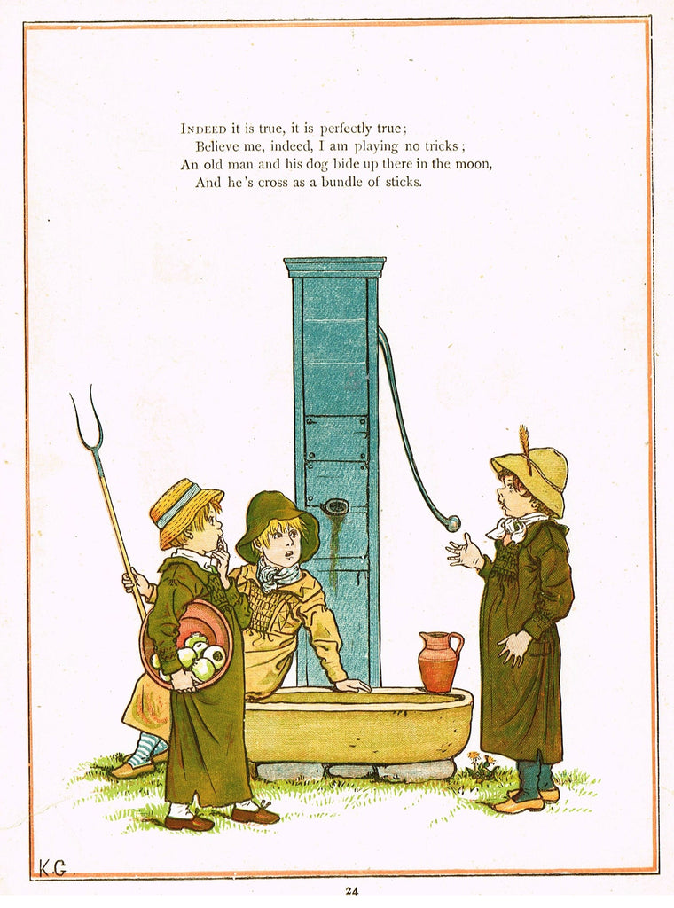 "Kate Greenaway's - ""INDEED IT IS TRUE, IT IS PERFECTLY TRUE""  - Chromolithograph - 1878"