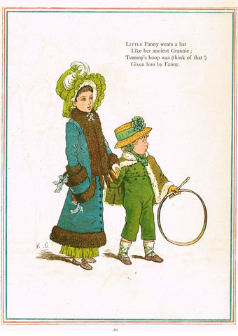 "Kate Greenaway's 'Under the Window' - ""LITTLE FANNY WEARS A HAT""  - Chromolithograph - 1878"