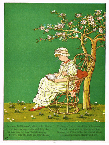 "Kate Greenaway's 'Under the Window' - ""BENEATH THE LILLIES""  - Chromolithograph - 1878"