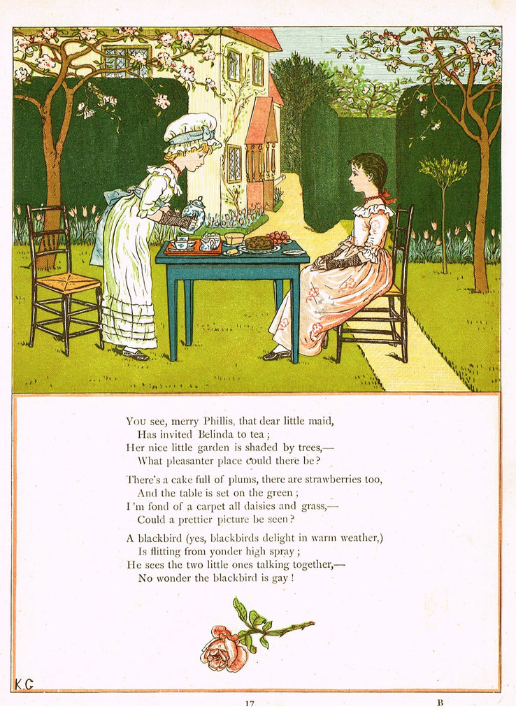 "Kate Greenaway's - ""YOU SEE MERRY PHILLIS, THAT DEAR LITTLE MAID""  - Chromo - 1878"