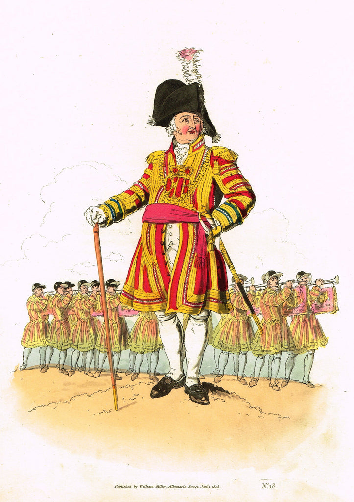 "Payne's ""COSTUMES OF GREAT BRITAIN, No. 18 - The Admiral"" - Aquatint Engraving - 1805"