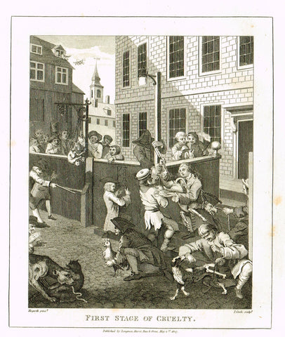 "Hogarth's Satire - ""FIRST STAGE OF CRUELTY"" - Copper Engraving - 1807"