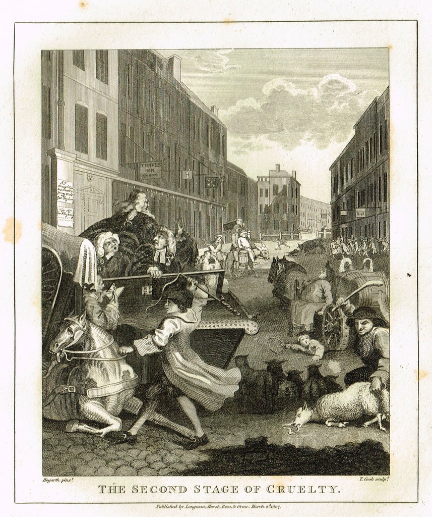"Hogarth's Satire - ""FIRST SECOND OF CRUELTY"" - Copper Engraving - 1807"