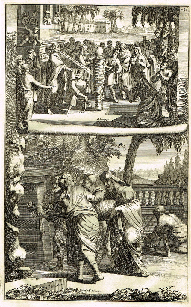"Goeree Religious Print - ""BODY of LZARUS WRAPPED FOR BURIAL  -Job 11, v44"" - Copper Engraving - 1700"
