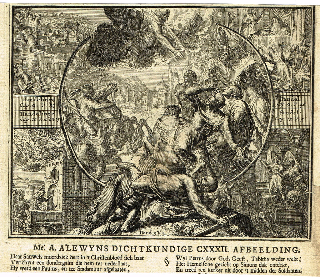 "Romeyn de Hooghe Religious Print - ""THE WRATH OF GOD  - Handel Cap. 9, v.4"" - Copper Engraving - 1721"