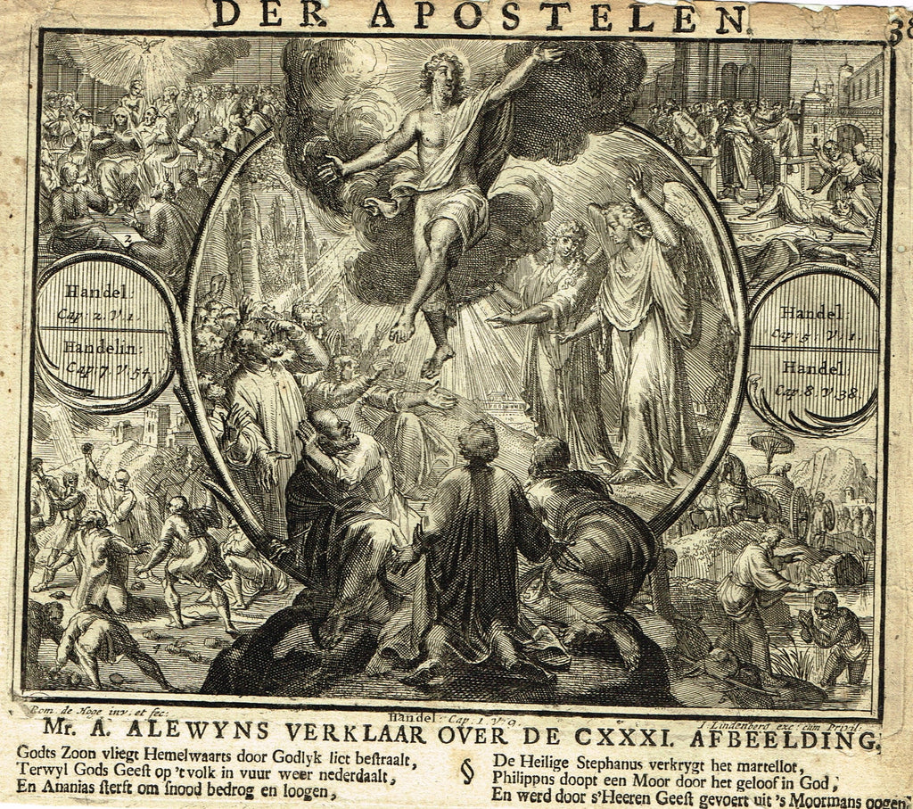Romeyn de Hooghe Religious Print - THE ASSENTION OF JESU -  Engraving - 1721