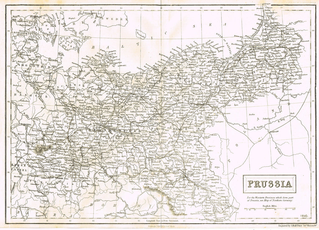"Antique Map - ""PRUSSIA"" by S. Hall - Lithograph - 1851"