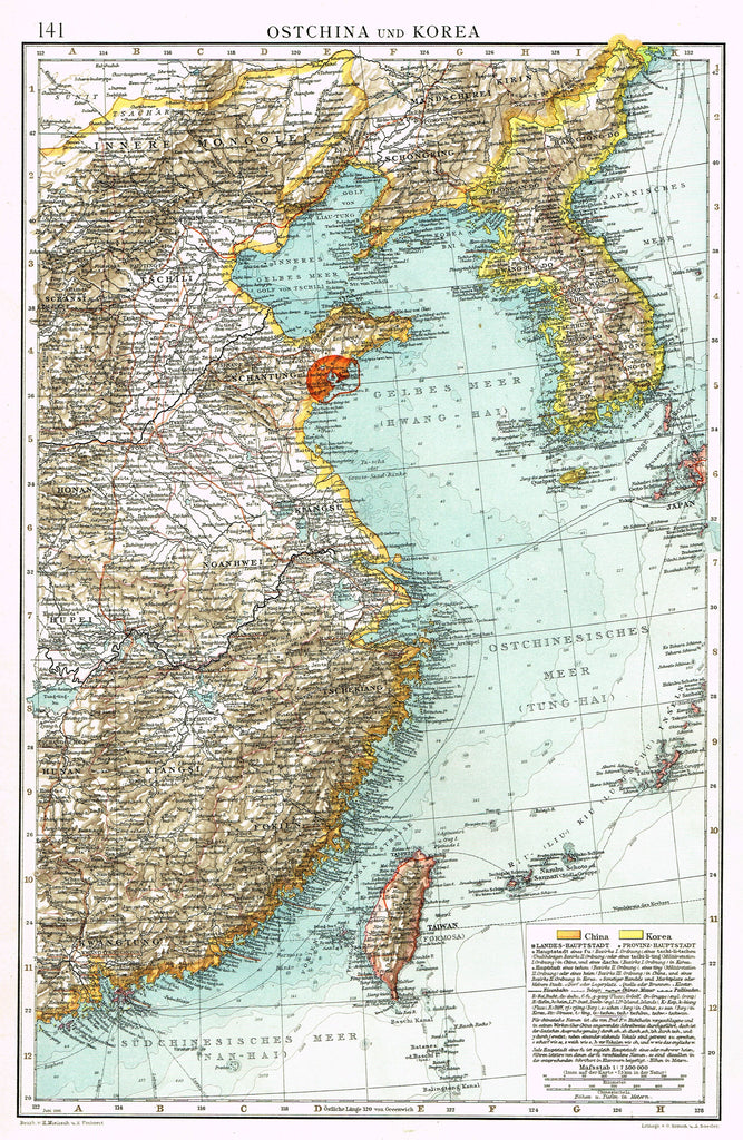 "Antique Map - ""OSTCHINA und KOREA"" by Simon & Soeder - Chromolithograph - 1905"