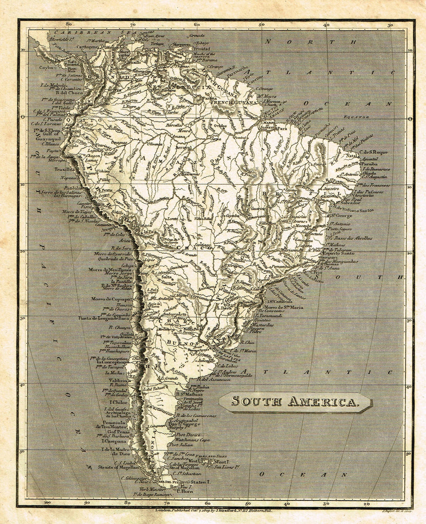 "Antique Map - ""SOUTH AMERICA"" by J. Russell - Copper Engraving - 1809"
