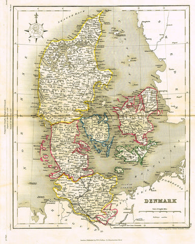 "Antique Map - ""DENMARK"" by J. Archer - Colored Lithograph - c1850"