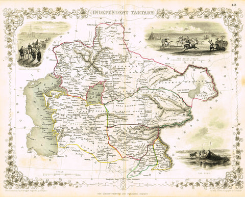 "Antique Map - ""INDEPENDENT TARTARY With 3 ENGRAVINGS"" by J. Rapkin - Colored Lithograph - c1851"