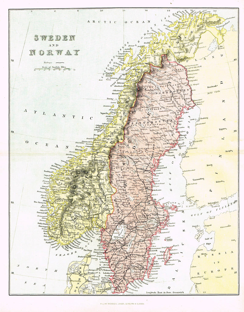 "Antique Map - ""SWEDEN and NORWAY"" by J. Barhtolomew - Chromoithograph - c1850"