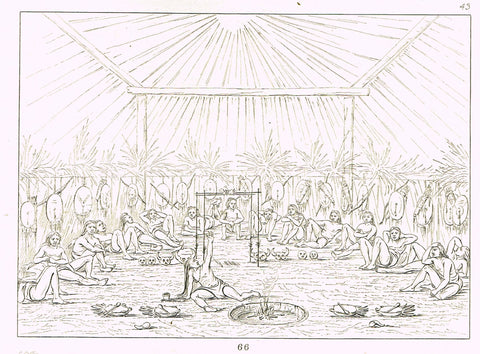 "George Catlin's ""NATIVE WARRIORS TAKING A REST"" - Line Drawing - Plate 66 - 1857"