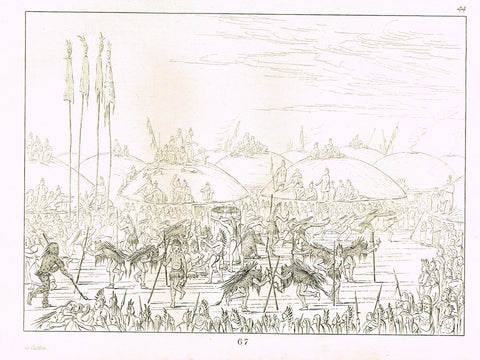 "George Catlin's ""NATIVE AMERICANS PRACTISING FIGHTING"" - Line Drawing - Plate 67 - 1857"