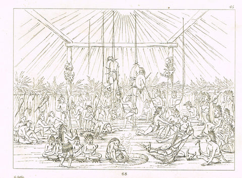 "George Catlin's ""TORTURE OF OPPONENTS"" - Line Drawing - Plate 68 - 1857"