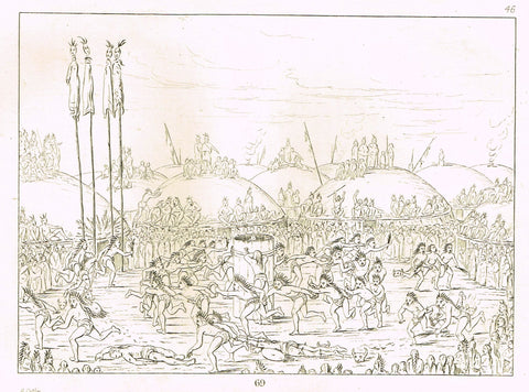"George Catlin's ""PREPARING FOR WAR"" - Line Drawing - Plate 69 - 1857"