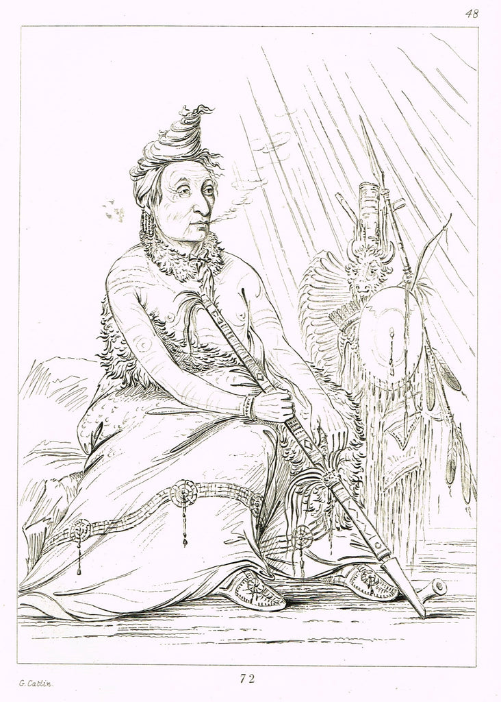 "George Catlin's ""MEDICINE MAN SMOKING PEACE PIPE"" - Line Drawing - Plate 72 - 1857"