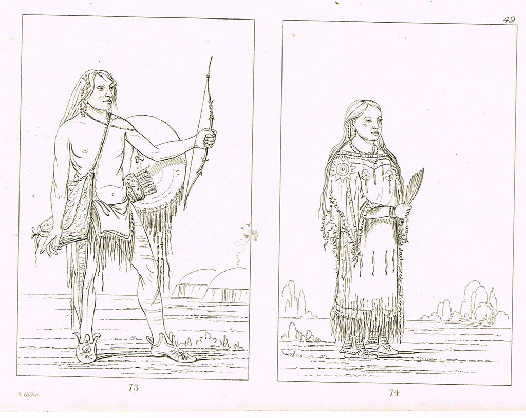 "George Catlin's ""INDIAN WARRIOR & SQUAW"" - Line Drawing - Plate 73 & 74 - 1857"