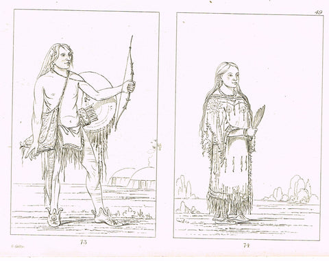"George Catlin's ""WAR DANCE"" - Line Drawing - Plate 75 - 1857"