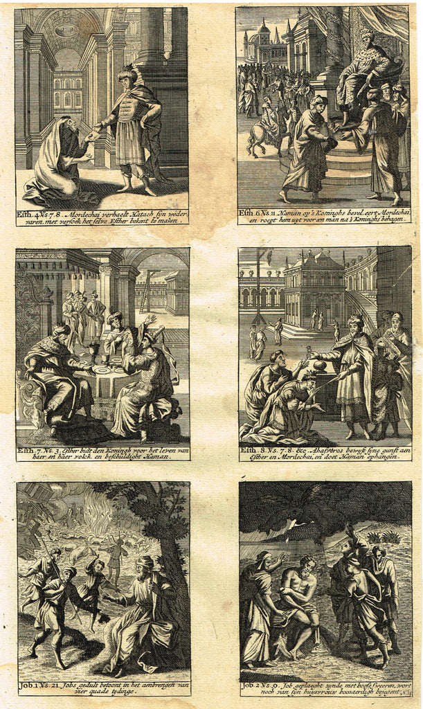 "Religious Print - ""SIX VIEWS FROM THE BIBLE"" - Copper Engraving - 1719"